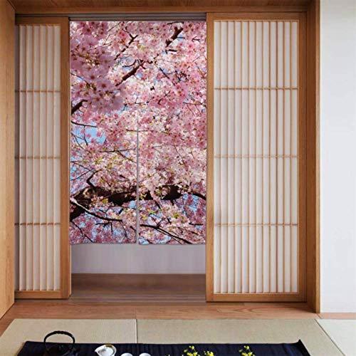 LONGYUU Tür Vorhänge Küche Kirschbaum Blüten Sakura Japanisch Rosa Blumen Darkout Vorhänge Für Schlafzimmer Tür Vorhang Für Mädchen Langer Typ Für Zuhause Küchentür Dekoration 34 X 56 Zoll (86x143cm)