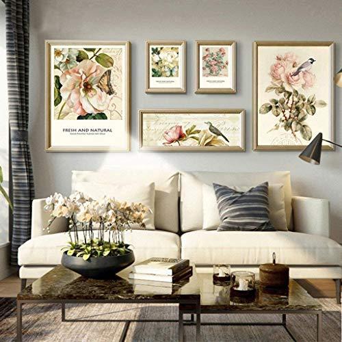Jjek fotolijst fotomuur, minimalistische bloemrijke achtergrond frame een totaal van 5 st 2 (50x70), 2 (25x32), 1 (30x70) Slaapbank Woonkamer Achtergrond