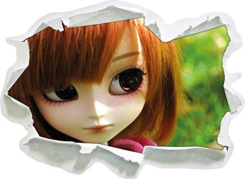 Tendre Pullip-poupée Verte Prairie d'été, Papier 3D Taille Sticker Mural: 62x45 cm décoration Murale 3D Stickers muraux Stickers