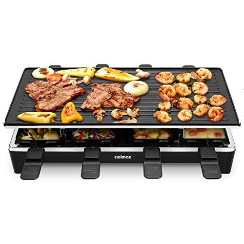 Cusimax CMRC-300 Raclette Grill per 8 persone, Griglia da tavolo con 8 padelline, Reversibile Piastra antiaderente Griglia per feste, Calore regolabile continuo, 1500W, Nero