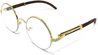 Professor Half Rim Round Metal & Wood Eyeglasses/Clear Lens Sunglasses