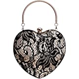 Bolsos Mujer Encaje Mujer Corazón Bolsos De Noche Diseño Ahuecado Diamantes De Imitación Embragues Cadena Hombro Monedero Bolsos Negro
