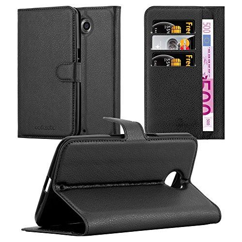 Cadorabo Hülle für Lenovo Google Nexus 6 / 6X - Hülle in Phantom SCHWARZ – Handyhülle mit Kartenfach & Standfunktion - Case Cover Schutzhülle Etui Tasche Book Klapp Style