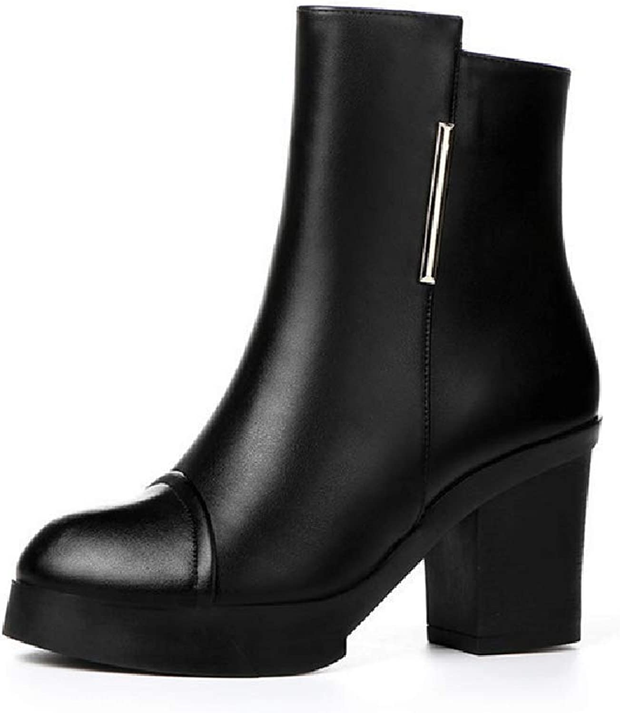 Women's High Heel Boots, Autumn New Booties Thick Heel Platform Plus Velvet Martin Boots (color   A, Size   40)