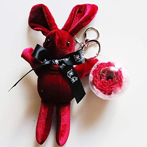 Statuen Dekoartikel Skulpturen Figuren Ewige Blume Keychain Valentinstag Stieg Blumenkasten, Der Kaninchengeschenkbox Wünscht, Um Freundinfreundschafts-Geburtstagsgeschenk Freundin Zu Schicken,Rosaf