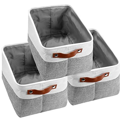 Vextronic Large Collapsible Storage Bins Basket Set of 3 Decorative Storage Bins W/Leather Handles, Canvas Storage Baskets Set for Home Office Closet Toy Storage Organizer