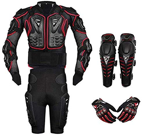 AKAUFENG Motorrad Protektorenjacke mit Getriebe Kurzen Hosen + Knieprotektoren + Hanschuhe Protektorenhemd Motorrad S-5XL