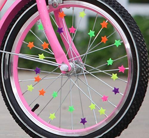 80x Bunte Sterne – Fahrrad Speichen Deko 20mm Sterne zum anclipsen für Kinder & Erwachsene KFZ-Martens