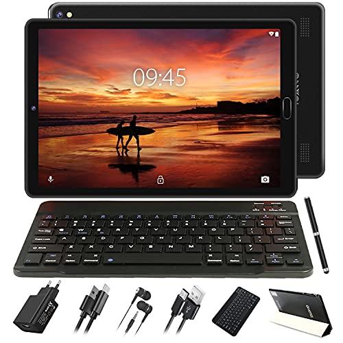 Tablet 10 Pollici 4GB RAM + 64GB SSD ROM Android 10 GOODTEL Tablets con Doppia Fotocamera | WiFi | IPS | 8000mAh | FM | Bluetooth | MicroSD 4-128GB Espandibili, con Tastiera Bluetooth, Nero