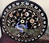 Mesa de comedor redonda de mármol negro con incrustaciones de piedra semi preciosa arte hermosa mirada restaurante mesa para hotel 36 pulgadas