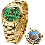 OLEVS Green Men's Chronograph Automatic Mechanical Watches Gold Luxury Dress Self Winding Waterproof Stainless Steel Luminous Date Classic Edge Bezel Two Tone Wristwatch for Men