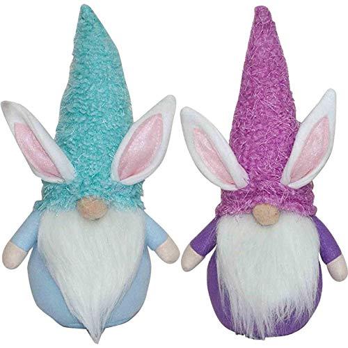 Decoracin de Pascua, 2 piezas, diseo de conejo de dibujos animados, mueco sin rostro, decoracin de Pascua, adornos de pie para la habitacin de correo, decoracin de mesa, juguetes