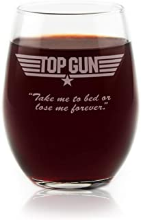 Top Gun Stemless Wine Glass With Quote,