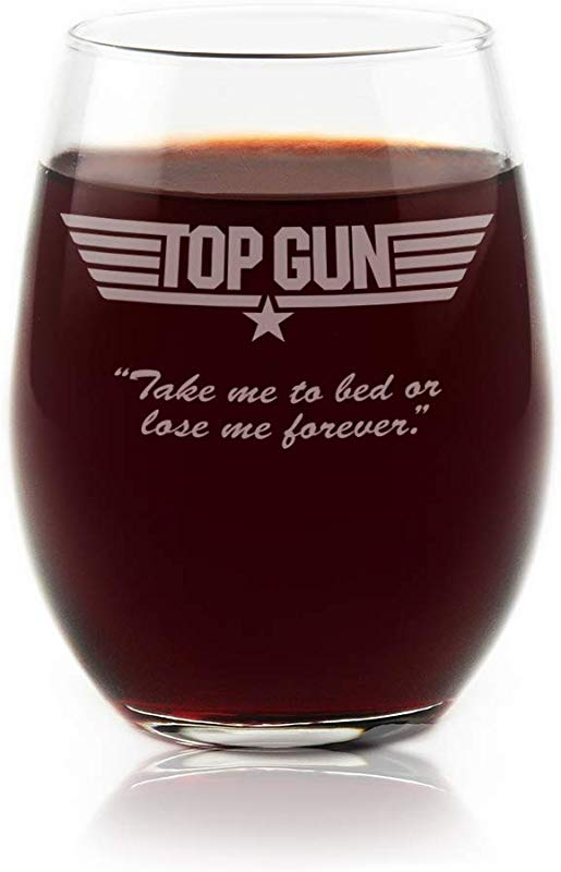 Movies On Glass Premium Etched Top Gun Movie Logo With Quote Take Me To Bed Or Lose Me Forever Engraved Stemless Wine Glass