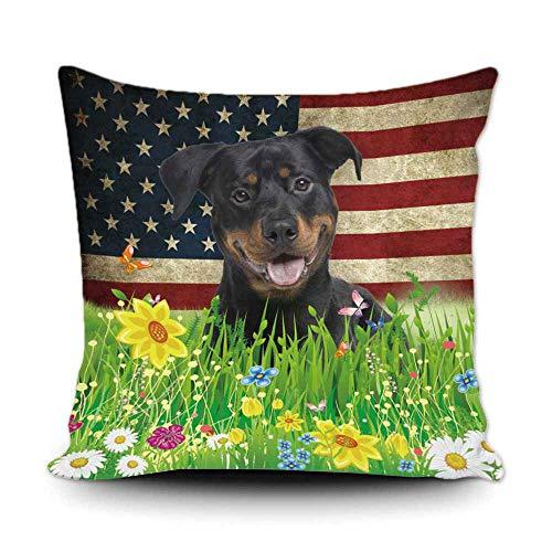 BAGEYOU Kissenbezug mit Frühlingsblumen- & Rasenmotiv, süßes Haustier, rauer Collie, amerikanische Flagge, Hintergr& als Dekoration für Zuhause 18x18 inch/45x45 cm 2