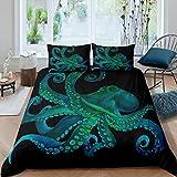 Feelyou 3D grünes Oktopus-Bettbezug-Set für Kinder & Erwachsene mit Meeresmotiven, Bettdeckenbezug, Unterwasser-Tier-Bettwäsche, Raumdekoration, Tagesdecke, Überwurf, King-Size-Größe