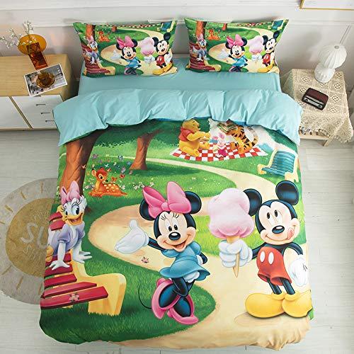 Set copripiumino per bambini con stampa Topolino Minnie Mouse con 1 federa, ultra morbido set di biancheria da letto Disney per bambini e ragazze (singolo 150 x 200 cm)