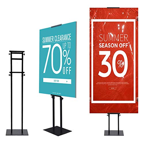 YDisplay Heavy Duty Poster Board Stand Pedestal Sign Holder Stand with Non-slip Mat Base Height Adjustable up to 75inches for Display Board & Foam Sign,Black