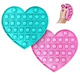 Happy Kids Pastel Hearts Push & Pop Fidget Toys with Alphabet Letters (2 Pack - Blue & Pink) - Colorful Bubble Popping Silicone Sensory Toys for Kids & Adults - Popular Stress Relieving Fidget Game