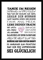 artissimo, Spruch-Bild gerahmt, 51x71cm, PE6001-ER, Tanze im Regen, Bild, Wandbild mit Spruch, Spruch-Poster mit Rahmen, Geschenk-Idee, Wand-Deko, Plakat, Kunst-Druck, Typographie, Text, Schrift, Zitat
