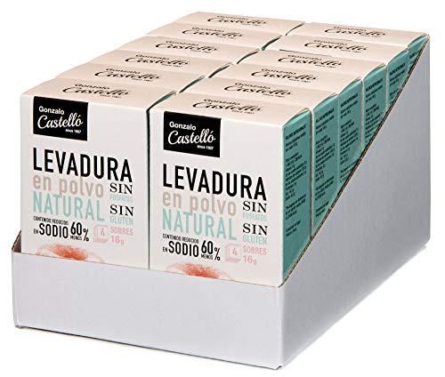 Castelló Since 1907 Levadura en Polvo Sin Gluten, Sin Fosfatos y Baja en Sodio - Bandeja 12 Paquetes de 4 x 64 gr - Total: 768 gr
