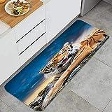 Alfombrilla de cocina antideslizante Tigre grande gato siberiano tranquilo con una hermosa puesta de sol Decoración piso de alfombra para baño, sala de estar, oficina, fregadero-120cm x 45cm