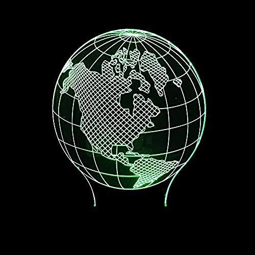 Verlichting voor kinderen met 3D-motieven Creative Southern Emisfero Aarde Amerika Map Plastic Art Stereo 3D Night Light LED bedlampje
