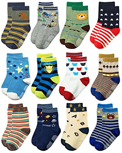 RATIVE Non Skid Anti Slip Slipper Cotton Crew Socks with Grips for Baby Toddlers Kids Boys (9-18 Months, RB-71518)