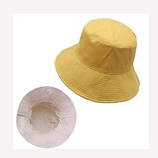 LPKH Fisherman Hat Visor Hats Wide Brim Anti-UV Edge Round Cotton Sunhat Outdoor Sport Leisure Cap Folding Sunhat hat (Color : Yellow)