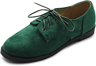 Ollio Womens Oxford Flats Green Size: 6