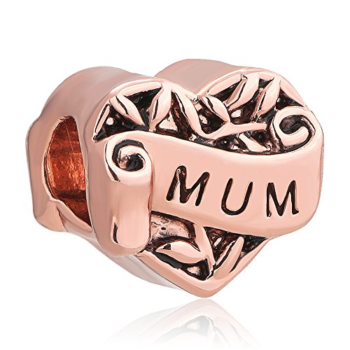 Christmas Rose Pink Mum I Love You New Charms Heart Beads Fit Style Bracelet
