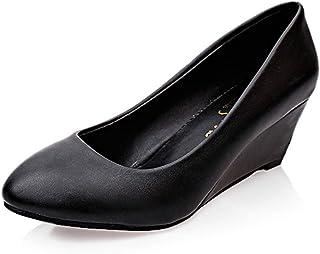 ウェッジソール パンプス ママシューズ コンフォート 歩きやすい ラウンドトゥ 柔らかい 婦人用 仕事 二次会 パーティー かかと脱げ防止 履きやすい 消臭 ブラック ホワイト