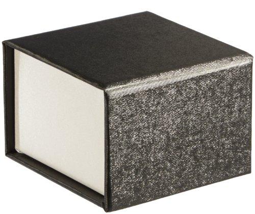 MTS ring/oorsieradendoosje sieradenetui zwart/wit geschenk - universele verpakking magneetsluiting 6 x 6 cm van karton (milieuvriendelijk) 73021