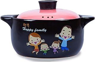 l.e.i. Round Ceramic Casserole with Lid,Large-Capacity Family Slow Stew Pot,Heat-Resistant Stockpot Soup Pot,Japanese Dona...