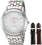 U.S. Polo Assn. US2040 Juego de reloj para hombre de estilo clásico con brazalete en tono plateado con dos bandas de correa intercambiables