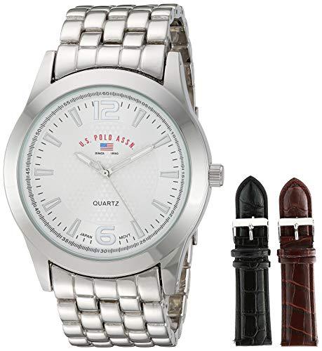 U.S. Polo Assn. US2040 Juego de reloj para hombre de estilo clásico con brazalete en tono plateado con…