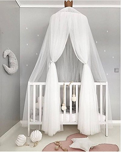 Moustiquaire ciel de lit Parure de lit Tente de jeu pour enfants jouant la lecture avec des enfants rond en dentelle d�me Filet pour rideaux, b�b� gar�ons et filles Maison de jeux