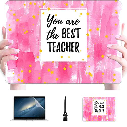 Macbook A1466 Case Happy Teacher Thanks Day With Letter Plastic Hard Shell Compatible Mac Macbook Air Computer Case Protection Accessories For Macbook With Mouse Pad