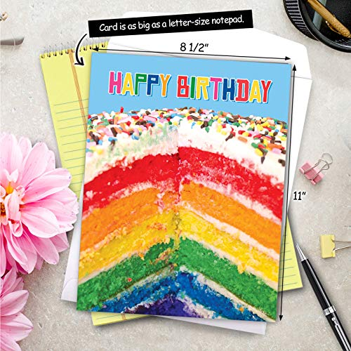 Large Birthday Greeting Card With Envelope 8.5 x 11 Inch - 'Rainbow Cakes' Happy Appreciation Card - Sliced Rainbow Cake Sprinkled With Rainbow Sprinklers On Top - Birthday Cake Card J6565FBDG Photo #6