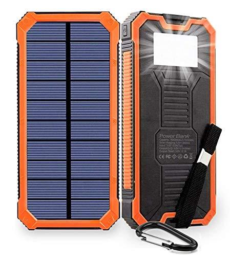 WY&WY Cargador Solar De 20000Mah Banco De Energía De Emergencia Paquete De Batería Externa Solar Portátil, con Conexión, Compatible con iPhone 11Pro, iPad, Samsung, Android,Naranja