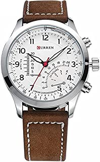 Curren Men's White Dile Leather Strap Watch 8152