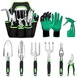 Xddias 9 Piezas Juego Herramientas Jardín, Kit de Jardinería Juegos de Herramientas con Organizador Bolsa -Mangos Ergonómicos Ideal Jardinería Regalo