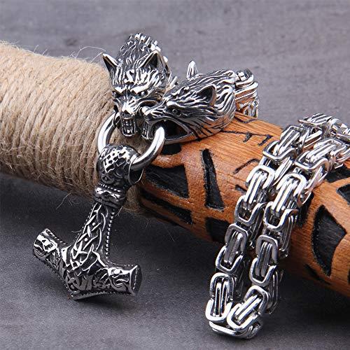 NDYD Cadena De Rey Acero Inoxidable Vikingo Nórdico con Cabeza Lobo Y Colgante Mjolnir Collar Fórmula Thor's Hammer como Regalo Novio,60cm