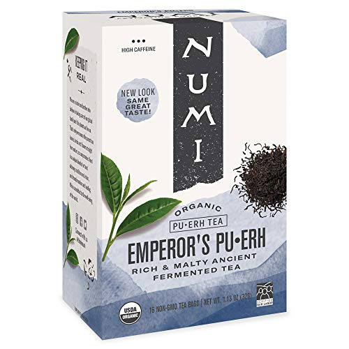 Numi Organic Tea Emperor's Pu-erh, Black Tea, 16 Count of Tea Bags, Pack of 1 (Packaging May Vary)
