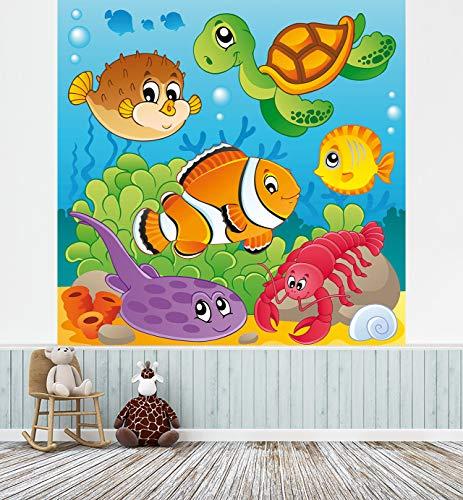 Fototapete selbstklebend | Unterwasser Tiere | in 300x300 cm | Kindertapete Tapete Wand-deko Dekoration Kinderbild Kinderzimmer Jungs Mädchen