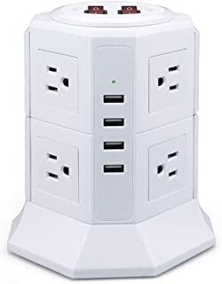Power Strip Tower Surge Protector 8 AC Outlets 4 USB Smart Charging Tower Station Multi Vertical Socket with Max 4.5A USB Hub Output 6.5ft Extension Cord for Home and Office White