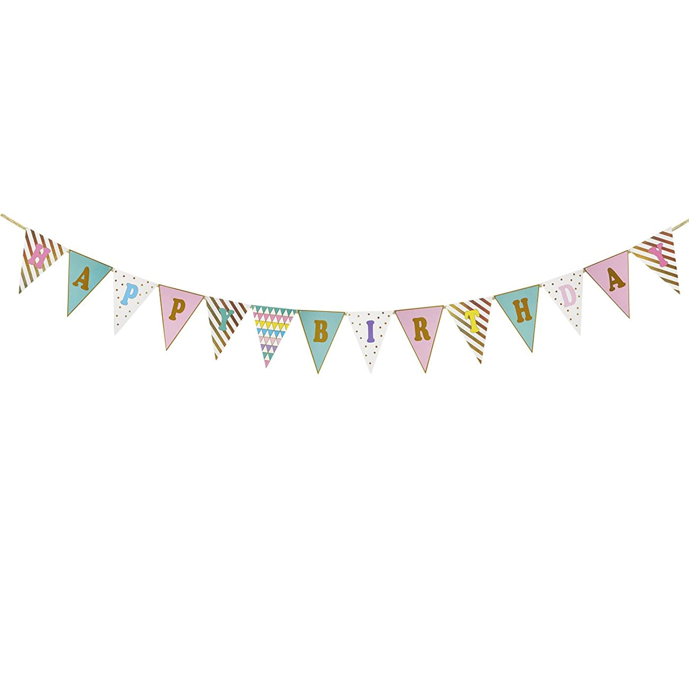 Birthday Party Banner - Pennant Banner Flags, Bunting Flags, Triangle Garland Decorations, Birthday Party Supplies for Kids, Multi Colors and Patterns, 12.6 Feet Long