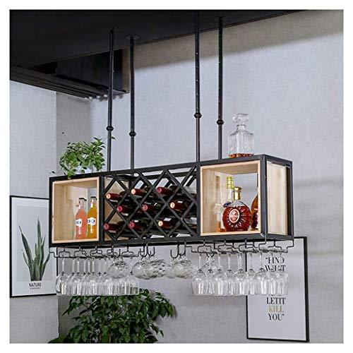 HXCD Estante para vinos, Bar, Restaurante, Estante para Copas de Vino, Soporte Rojo para el hogar, Metal Industrial con Estante, Soporte para Botellas de Vino para Colgar en el Techo, Almacenamiento