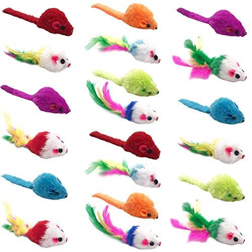 WENTS Juguetes para Gatos, Fur Mice Cat Toy 20 Piezas Peludo Ratones sonajero pequeño Ratón Gato Gatito Interactivo, Colores Variados