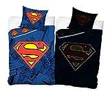 Funda nórdica de Superman para niños y jóvenes. Dimensiones: 140 x 200 cm con funda de almohada de 70 x 90 cm.